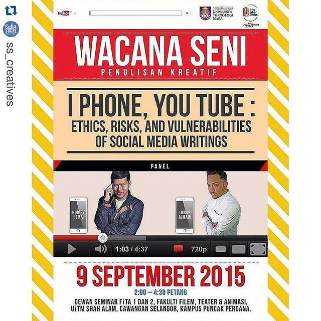 #Repost @ss_creatives  Talk: Wacana Seni Penulisan Kreatif with @budiey & @imranajmain at UiTM Puncak Perdana #FiTASMFcrew @casauitm on 9/9 2:30pm.  #imranajmain  #sukasucrecreatives