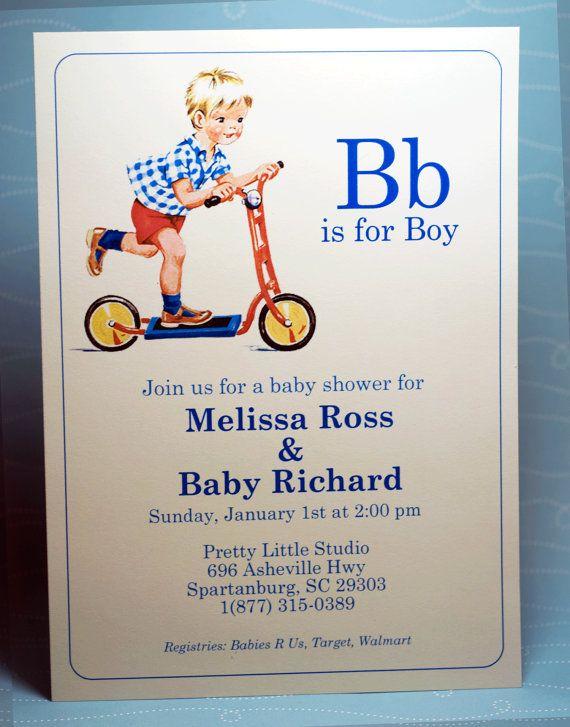 Digital Vintage Baby Boy Shower Invitation by PrettyLittleStudio, $25.00