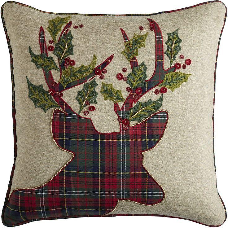 Plaid Reindeer Pillow - Natural | Pier 1 Imports