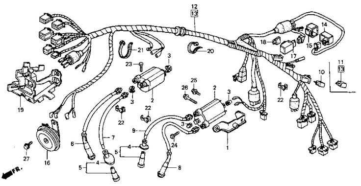0f3eb7e167282b62fc373f9c4f2e0190 oem parts planning wire harness honda shadow vlx (vt600c) 1993 oem parts planning on 2003 Honda Element Engine Harness at gsmx.co