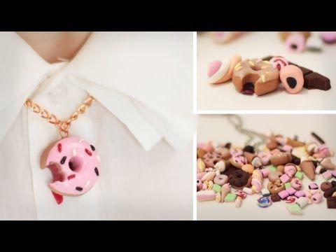 DIY Süßes aus Fimo - Donut, Eis, Schoki, Marshmallows, Haribo - für Ketten, Handys - Cabochons - YouTube