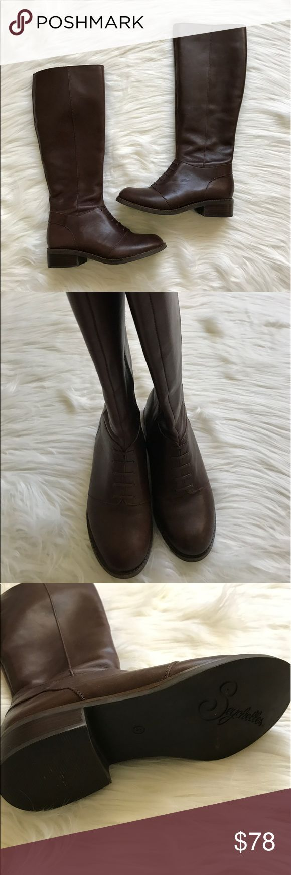 Seychelles Brown Zip Up Riding Boots Worn only a couple times.  In excellent condition.  Leather is super soft and the insides are clean.  Zipper on inner side, Faux laces look.  Women's Size 6. Seychelles Shoes