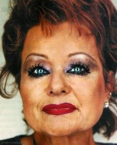 """I remember Tammy Faye Bakker; """"My Jimmy done nothing wrong"""" she shouted as he went to jail for 45 years. The real crime was Tammy Faye's make-up - RIP Tammy Faye."""