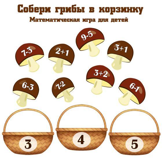 Математическая игра для детей - Собери грибы в корзинку. Сложение и вычитание в пределах 10