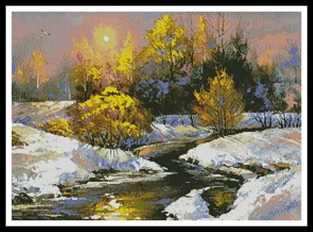Winter Landscape Cross Stitch Pattern
