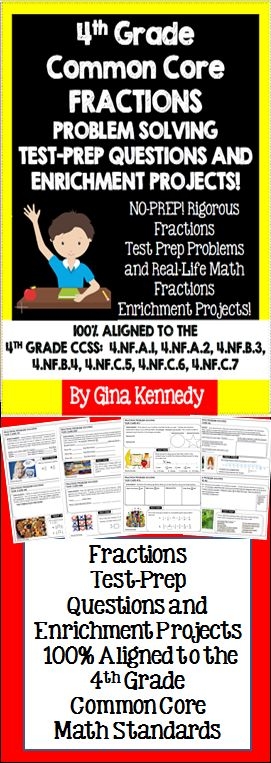 No-prep, 4th grade Common Core math fractions practice with 30 enrichment projects and 30 problem solving problems covering all of the fractions standards. A great way to teach the important fractions standards in a fun, engaging way. Great for early finishers, advanced learners or whole class practice.$