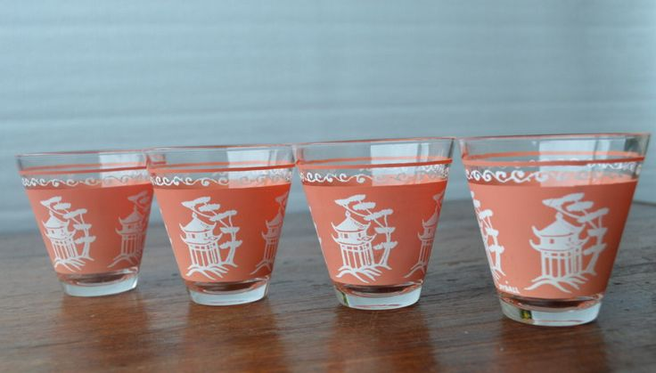 Vintage Hazel Atlas Frosted Coral Pink Pagoda Frosted Small Dyball Glasses Set…