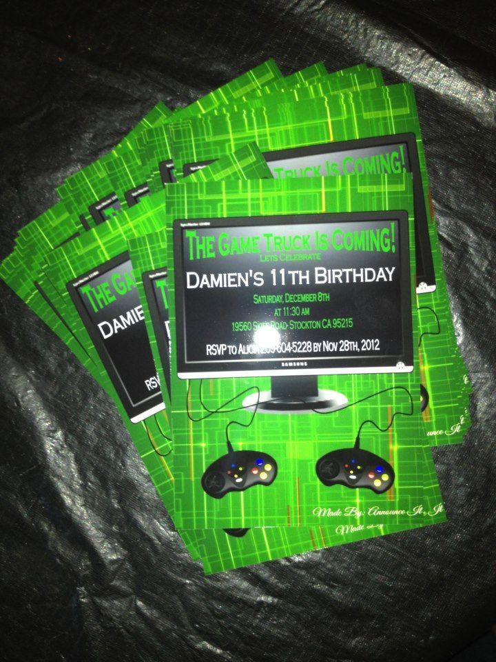 Game Truck Birthday Invitations Announce It by Alicia F