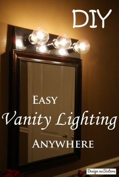 Easily rewire vanity lights so that they can be in any room with a normal plug and switch! We have done this twice now and it has been really helpful especially in apartments that don't have good lighting.