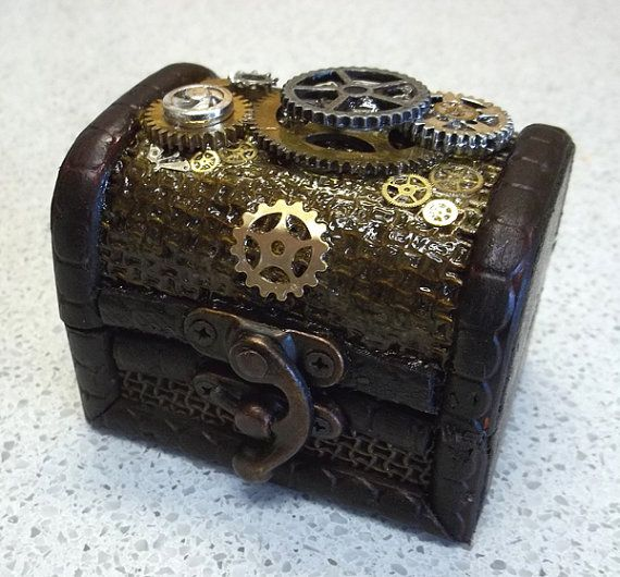 Mini Trinket Box with Steampunk Gear by thecurioddityshop on Etsy