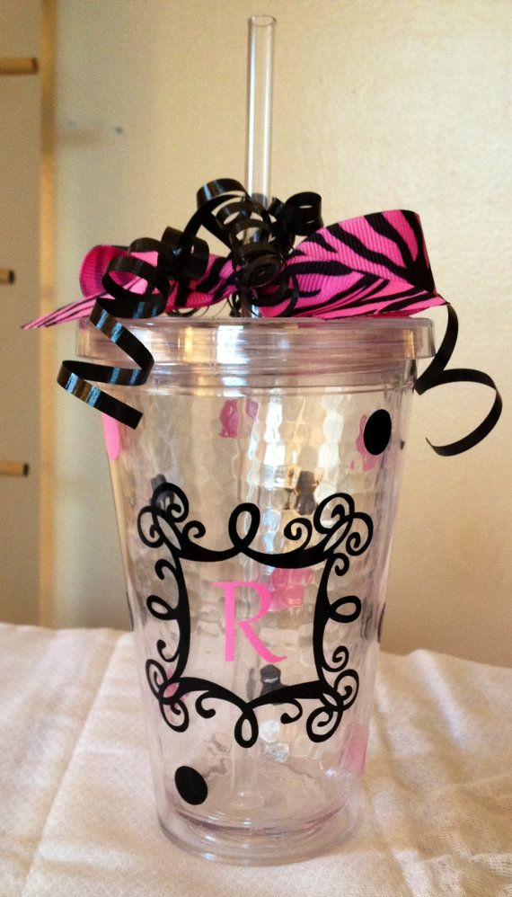 Personalized Acrylic Tumbler with Lid & Straw by KeelyandDarlene, $12.00