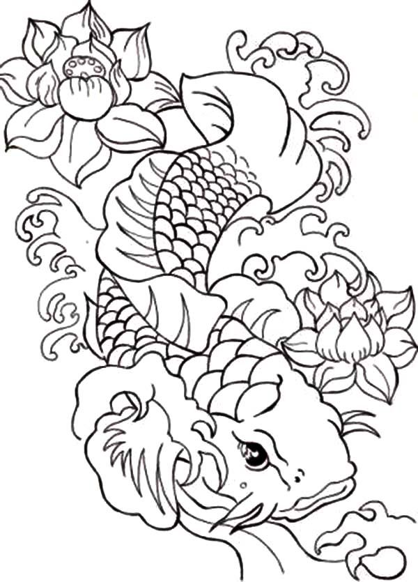 Coy Fish Japanese Coy Fish Coloring Pages Fish Coloring Page