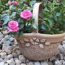 Koš na osázení rostlinami- dekor růže- velký