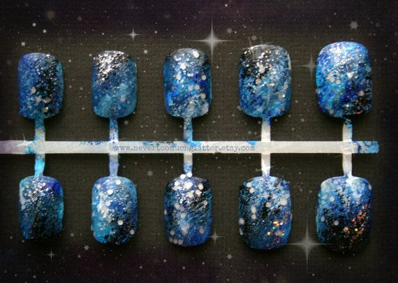 Galaxy Nail Art- Out Of This World Galactic Nails OR Shooting Star Fake Nails, Galaxy Fake Nail, Designer Nail, Short Fake Nails, Press On