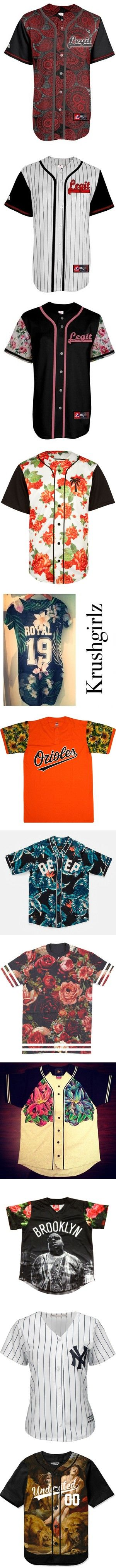 jerseys by simoneswagg on Polyvore featuring women's fashion, baseball jerseys, tops, shirts, baseball jersey shirts, baseball jersey top, shirt tops, men's fashion, men's clothing and jersey