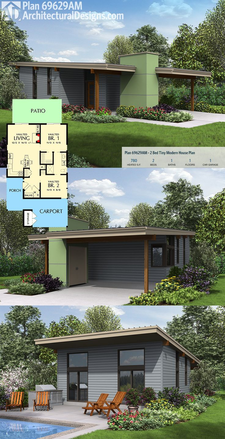 Plan 69629AM: Tiny 2 Bed Modern House Plan – Colin Clark