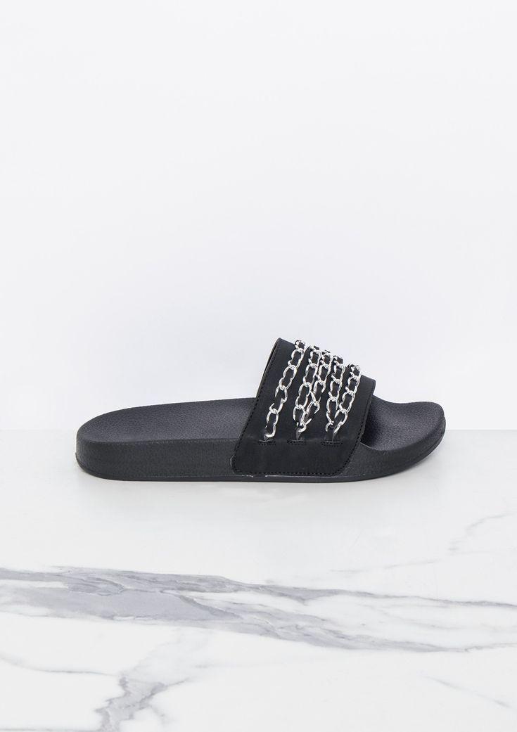 Missyempire - Sabina Black Chain Detail Sliders