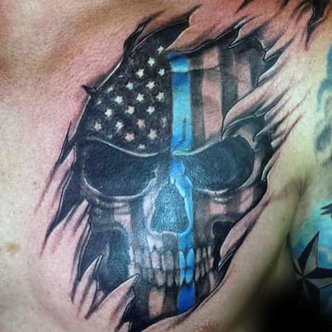 Male With Thin Blue Line Skull And Ripped Skin Chest Tattoo