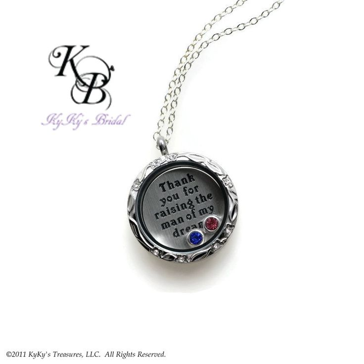 """FREE GIFT BOX!  Are you looking for the perfect Mother of The Groom Gift? This beautiful Memory Locket includes the bride and grooms birthstones and an engraved backplate saying """"Thank You For Raising The Man Of My Dreams.""""  The locket itself has a beautiful engraved flower design around the edges.  It's strung on a sterling silver chain to make it a top quality gift.    Only 1 in stock!!  ORDER NOW!   #motherofthegroomgift #motherofthegroom #giftfrombride #memorylocket #floatinglocket…"""