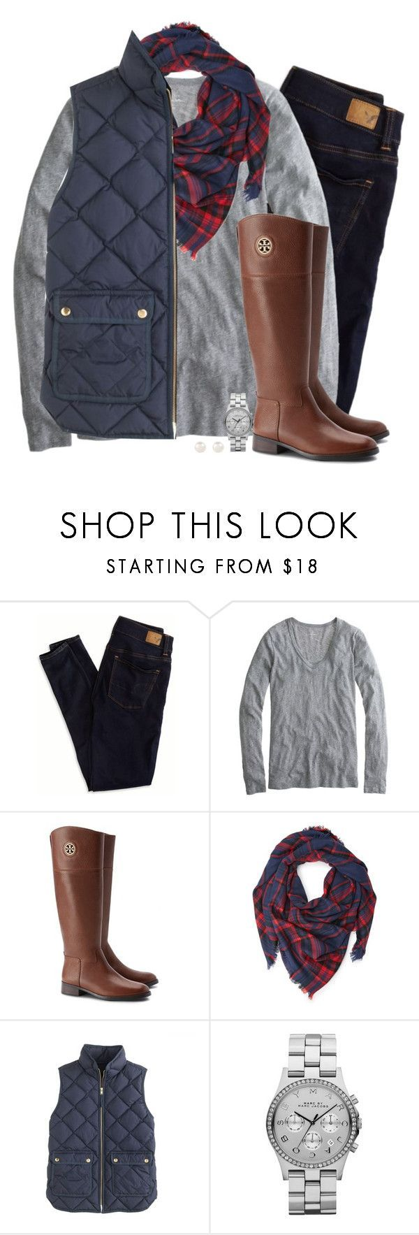 """""""Plaid, navy & gray"""" by steffiestaffie ❤ liked on Polyvore featuring American Eagle Outfitters, J.Crew, Tory Burch, Forever 21, Marc by Marc Jacobs and Accessorize"""
