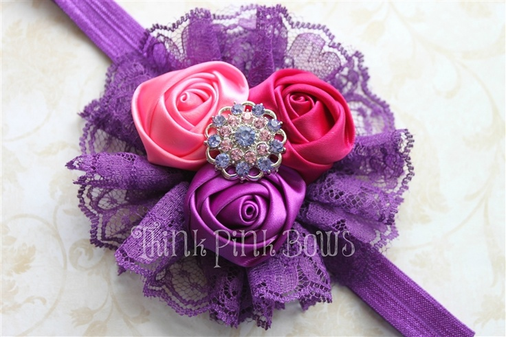 Satin Rolled Rosette Headband in Purple and Pinks