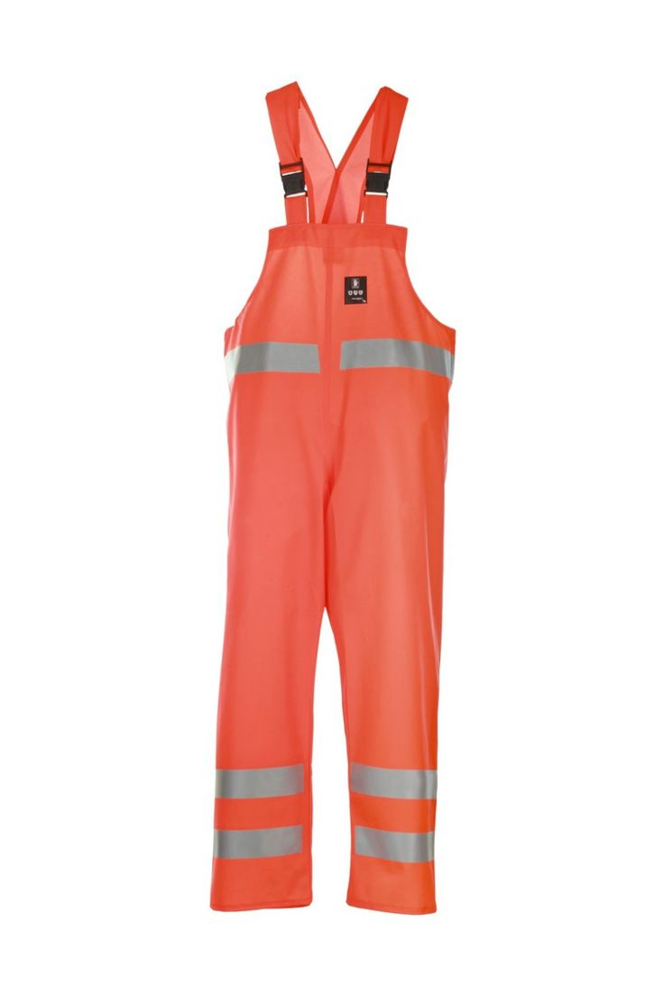 WATERPROOF WARNING BIBPANTS Model: 1011 The bibpants have adjustable elasticated braces. Reflective tapes on bibpants make workers more visible. The model is made on waterproof fabric Plavitex Fluo and it has been designed to be used at unfavorable weather conditions where visibility is limited. Thanks to double welded high frequency seams the product protects against rain and wind. The bibpants conform to EN ISO 13688, EN 343 and EN ISO 20471 standards.