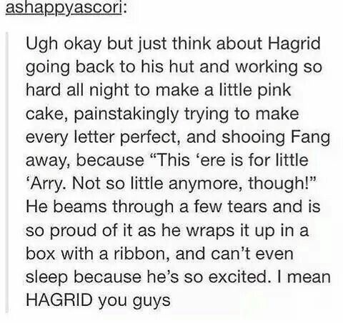 Aww Hagrid --- and we wonder why he got fed up with Dudley #hp