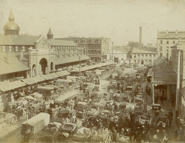 The Hamilton Market begins a month of celebrations to honour 175 years in Hamilton. This image also shows the Market Hall, before it was destroyed by fire in 1917, and the Star Theatre on Merrick Street.
