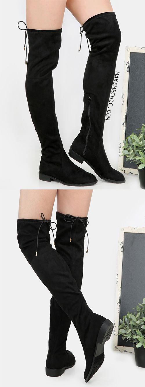 Flat Heel Thigh High Boots BLACK. Top your look with the classic Flat Heel Thigh High Boots! Features a round toe, faux suede, tie back design, and a side zipper. Finished with a flat heel. Pair with short shorts and a tucked in bodysuit!