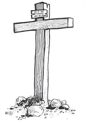 HC 12 Het kruis op Golgotha, tekening bij Zondag 12 van de Heidelbergse Catechismus