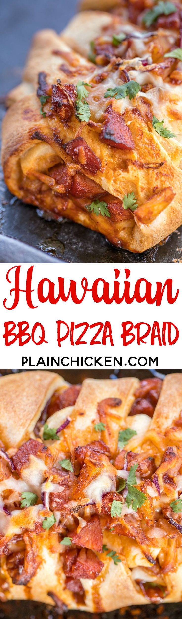 Hawaiian BBQ Pizza Braid - ready in under 30 minutes! Ham, pineapple, BBQ sauce, mozzarella, cilantro and red onions baked in refrigerated pizza dough. Fun twist to pizza night!!! Everyone LOVES this easy stuffed bread!! #pizza #hawaiianbbqpizza #bbqpizza