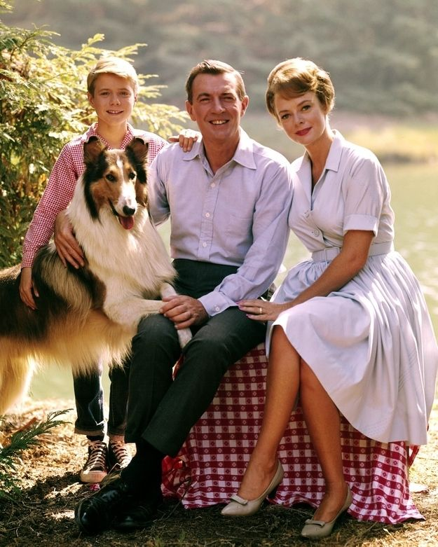 Here's the Lassie clan in full color. | 12 Jarring Color Images Of Black And White TV Shows :: I used to cry when Lassie ended! ::