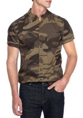 True Craft Men's Short Sleeve Camo Print Button Down Shirt - Olive Camo - 2Xl
