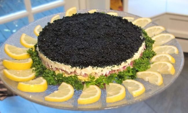 """caviar pie - don't worry, this appetizer doesn't use """"regular"""" caviar and won't cost a bundle, but your guests will never know"""