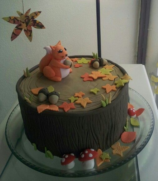 Squirrel in forest cake.