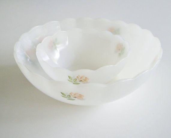 Vintage Milk Glass Bowls - Arcopal France Pink Rose Bowls - Set of Two via Etsy