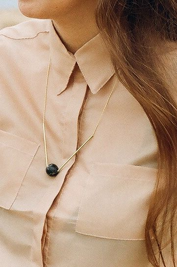 Minimal Black Marble Serpentine | Gold plated Necklace via T A L V I K K I  s t o c k h o l m. Click on the image to see more!