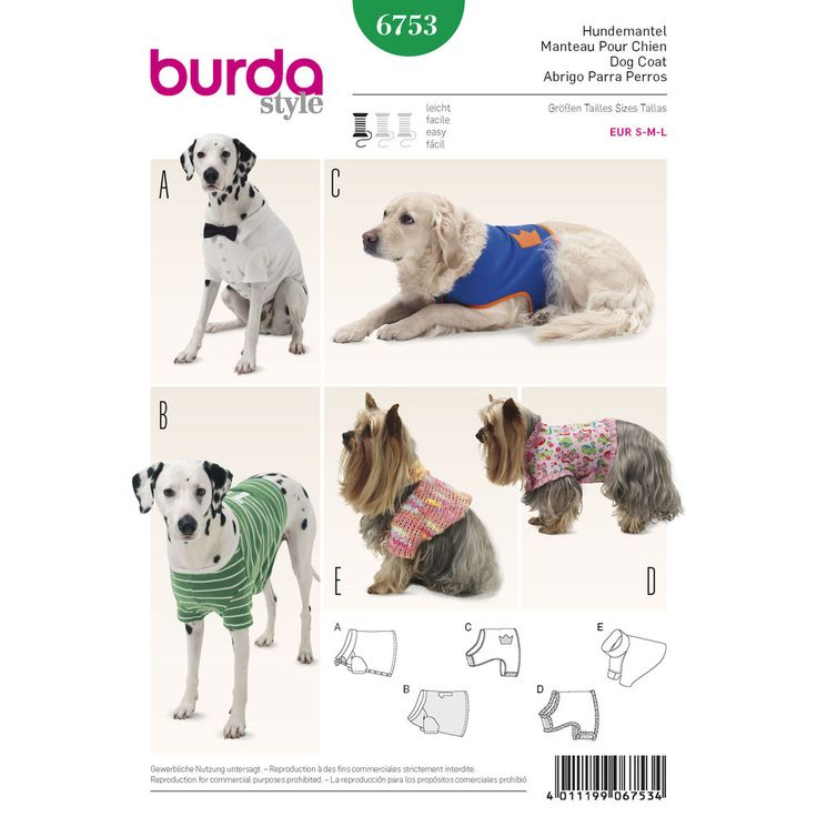 Pretty and practical accessories for a man's or a woman's best friend. They are fun to give and fun to sew. Five different variations range from a sporty shirt to a fanciful frilly coat.