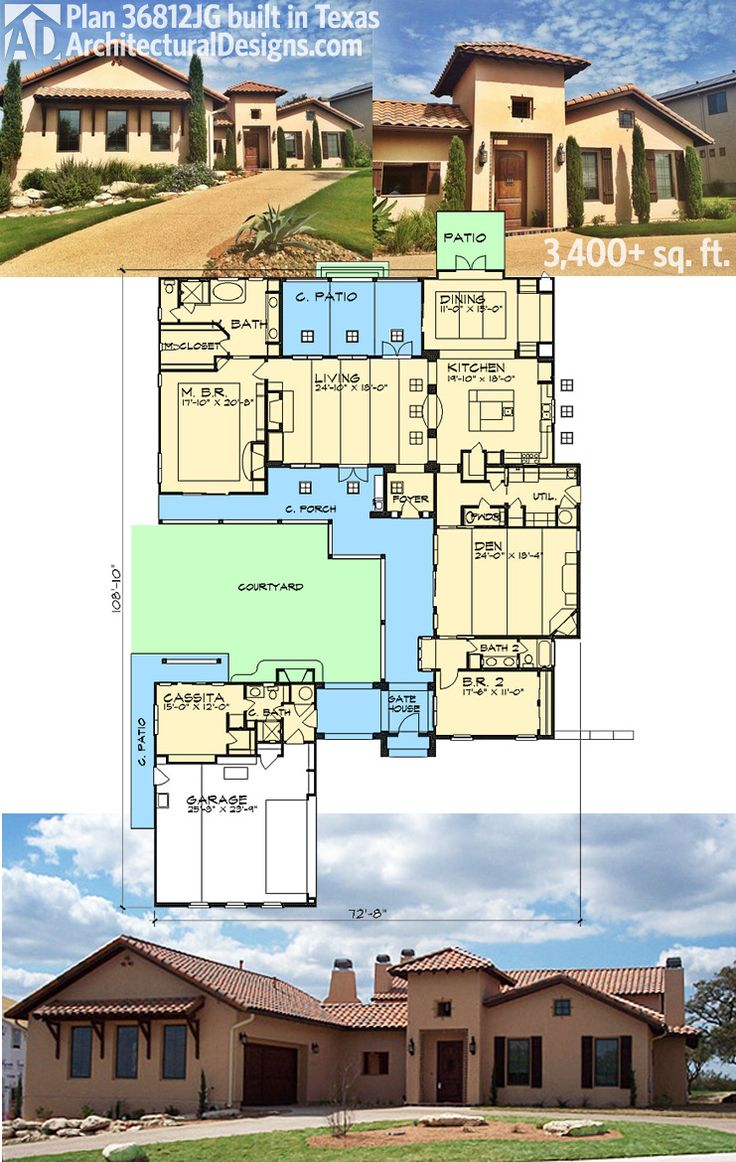 Architectural Designs House Plan 36812jg Built In Texas 3 Beds 3 5 Baths And Over