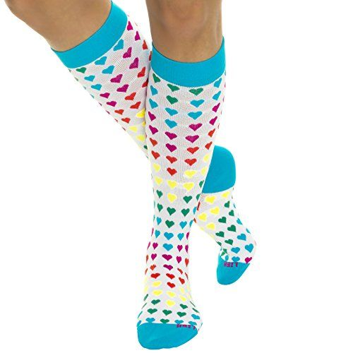 LISH Nurse Compression Socks for Women Graduated 1525mmHG Sports Socks Hearts * To view further for this item, visit the image link.Note:It is affiliate link to Amazon.