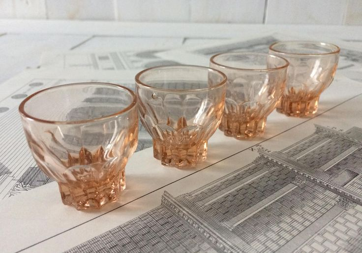 Pink liquor glasses. French vintage pressed shot glasses. 4 1960's liquor glasses. Retro drinks, barware. Collectible. Mother's day Gift by frenchvintagebazaar on Etsy