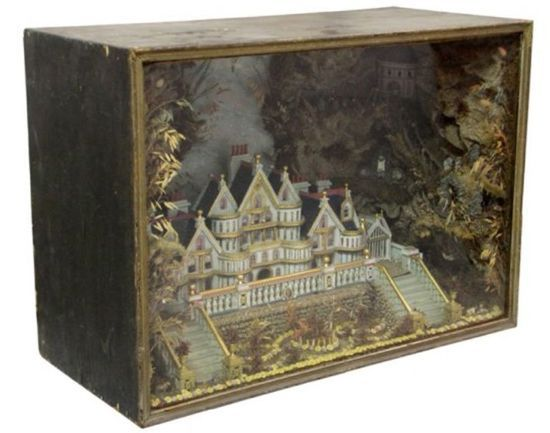 Victorian English Gothic Diorama attributed to Charles Grant, c. 1890. Mansion of Lord Cavendish: