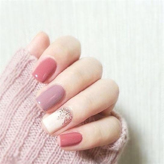 24 Stücke Sprung Farbe Rosa Lila Vollacrylnägel Kurze Ovale Gefälschte Nägel Mit Kleber – Nails