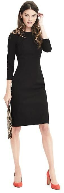 Banana Republic: Bi-Stretch Dress  I would not wear such a high neck in the summer, but in fall or winter, it's perfect. I find that fitted clothing is more slimming, but I do have a bit of a tummy..