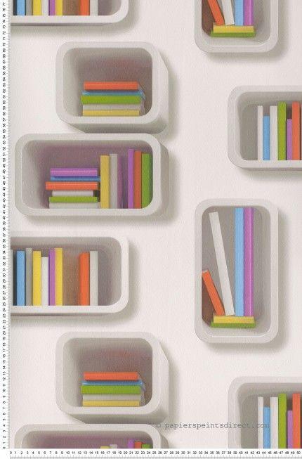 Bibliothèque en cubes - Papier peint Lutèce #trompeloeil #colors #books http://www.papierspeintsdirect.com/papier-peint/styles-multi-couleurs.html