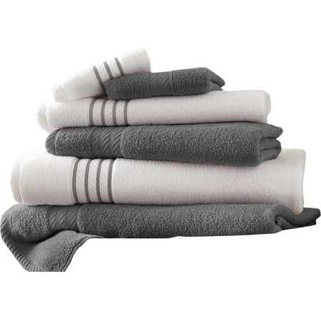 Add a resort-worthy touch to your guest suite or master bath with these Egyptian cotton towels, showcasing striped borders and inviting hues.