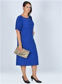 Nidya Moda büyük beden Aksesuarlı Sandy  Elbise-4026SX