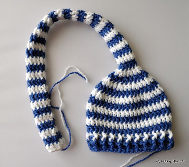 Elf Beanie Knitting Pattern : Free Pattern: Crochet Elf Striped Pixie Hat Classy ...
