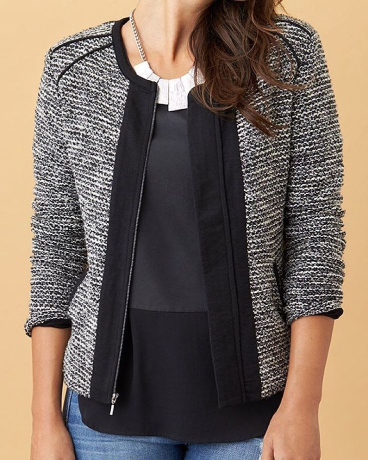From back-of-closet to back-in-business. Take your tweed from meeting to mingling with edgy, black details. #StylistTip