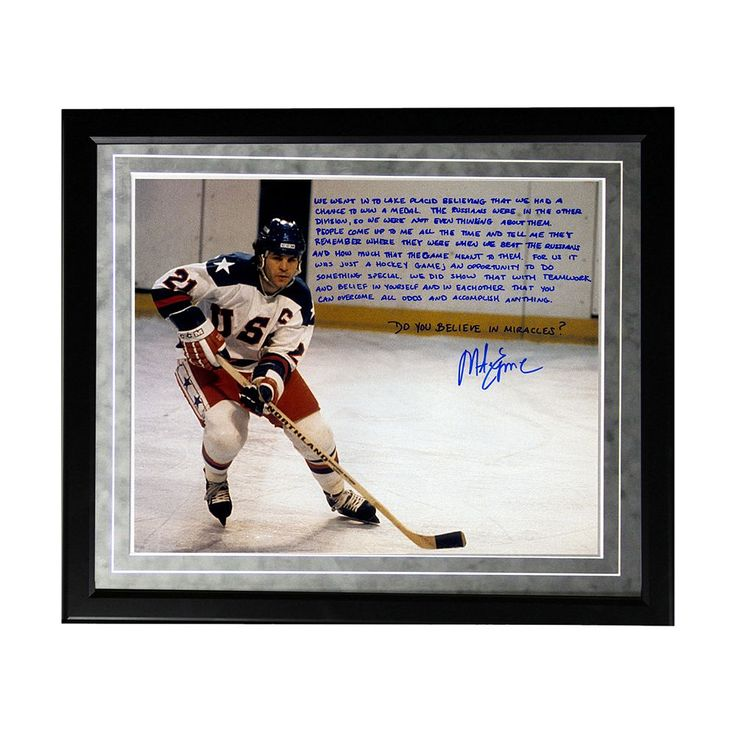 """Steiner Sports USA Hockey Mike Eruzione Miracle Facsimile 16"""" x 20"""" Framed Metallic Story Photo, Multicolor"""